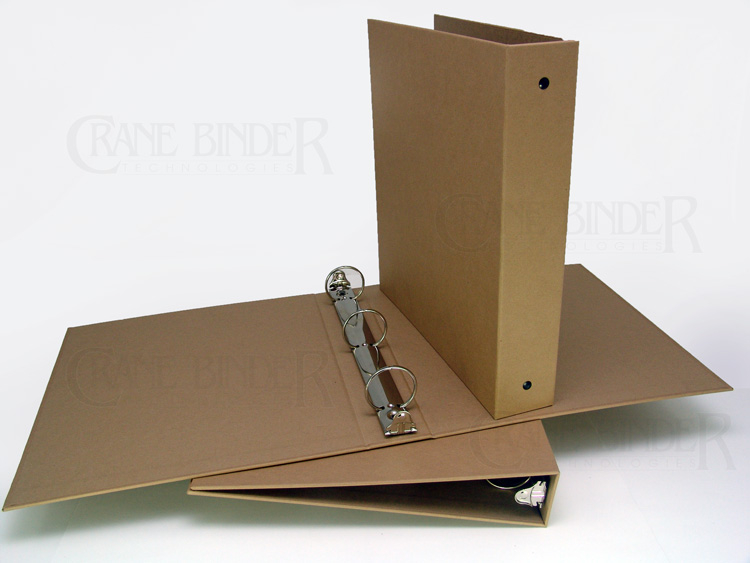 ECO ring binders environmentally friendly 3 ring binder 1 1/2 2 kraft paper recycled paper turned edge green binders from Crane Binder bulk discount