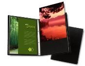Presentation, display book. Rigid, lightweight polypropylene cover. PolyGlass pocket sheets. Acid-Free, archival safe. 24 pages, 48 views.