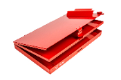 Aluminum storage clipboard red, orange, blue, black. Left hinged.