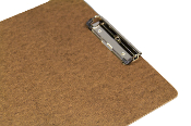 Brown clipboard letter size low profile clip metal corners
