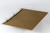 Ringboard is a clipboard with a 3 round rings instead of a clip. Brown hardboard.
