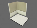 Two (2) pocket folders, white, black, blue, purple. Business card holder/slit. Cheap and sold in bulk.