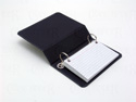 index card ring binder with 2 metal rings covered in premium cloth. 3 x 5 index cards.